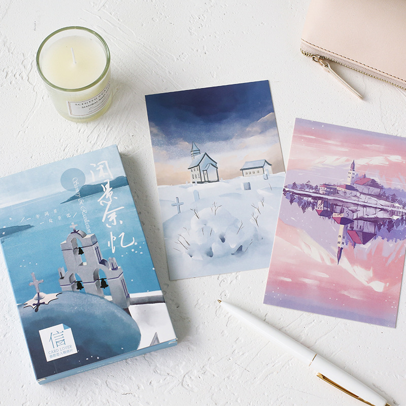 30 Pcs/Set Creative Scenery Recollection Postcard /Greeting Card/Message Card/Christmas And New Year Gift