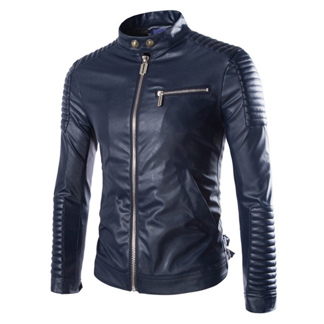High Quality Direct Selling Mens Outer Jackets Coats Ceket Europe Man Clothes Coat Zippers Stand Collar Men Pu Leather Jacket