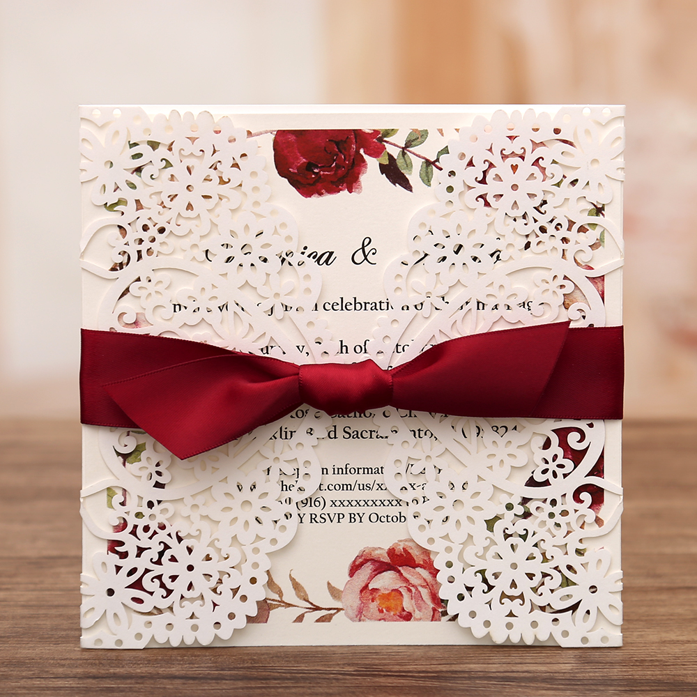 50pcs Square Invitations Cards Bridal Baby Shower Invite Birthday Dinner Invites with Red Bowknot Hollow W0003
