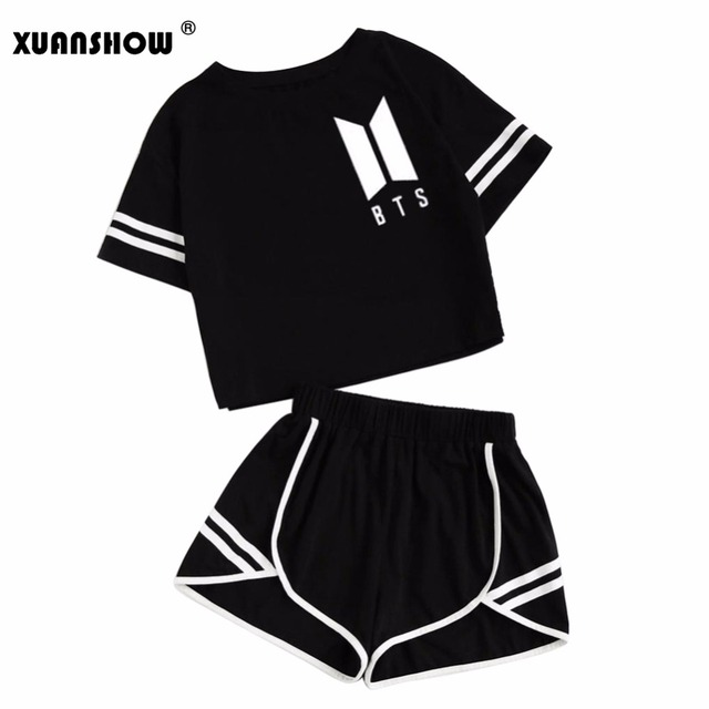 XUANSHOW 2018 Summer Cotton Striped Women's Tracksuit BTS Clothes Set 2 Piece Woman Suits