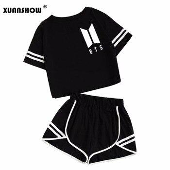 XUANSHOW 2018 de algodón de verano de rayas de chándal de las mujeres BTS  ropa 2 7f1d19c702c