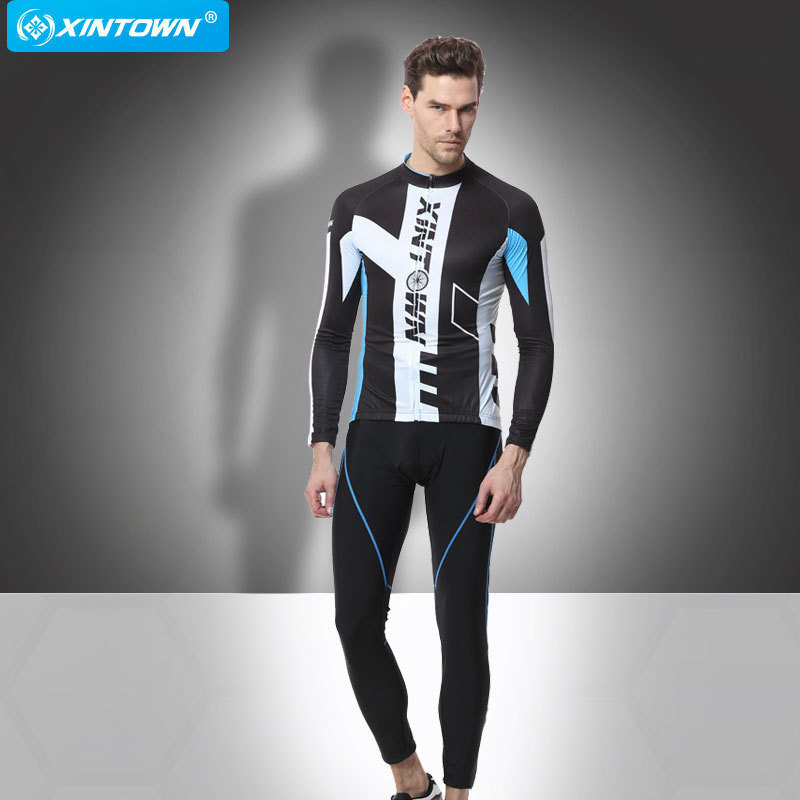 XINTOWN Men Spring Autumn Long Sleeve Cycling Clothing Quick Dry Bicycle Jersey And Pants Ropa Ciclismo Bike Riding Wear