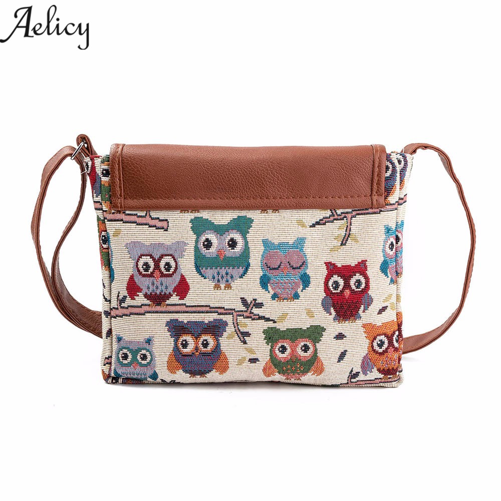 Aelicy drop ship  new 2019 hot Owl Printed Women Handbag Satchel Bag Crossbody Tote Bag Shoulder Messenger Bag bolsa feminina sac à main hippie chic