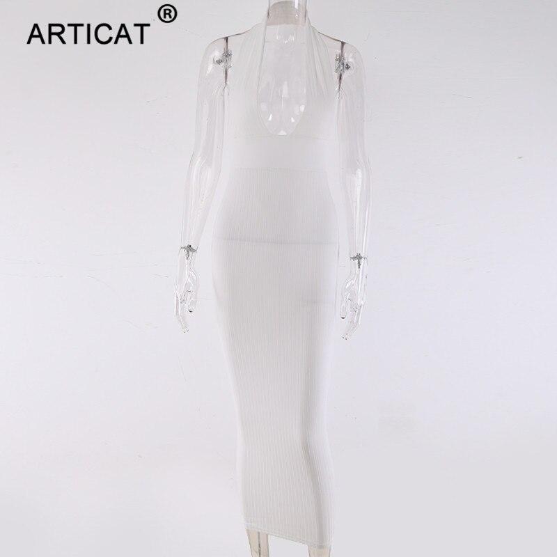Robe crayon en tricot Sexy à dos nu article femmes blanc à épaules dénudées longue moulante robe de soirée élégante robe d'été 2019 5