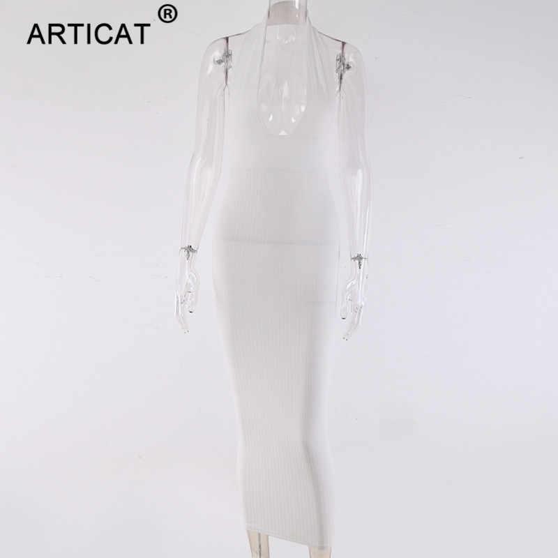 Женское длинное платье-футляр Articat, белое платье с открытой спиной и открытыми плечами, трикотажное элегантное платье для летней вечеринки, 2019