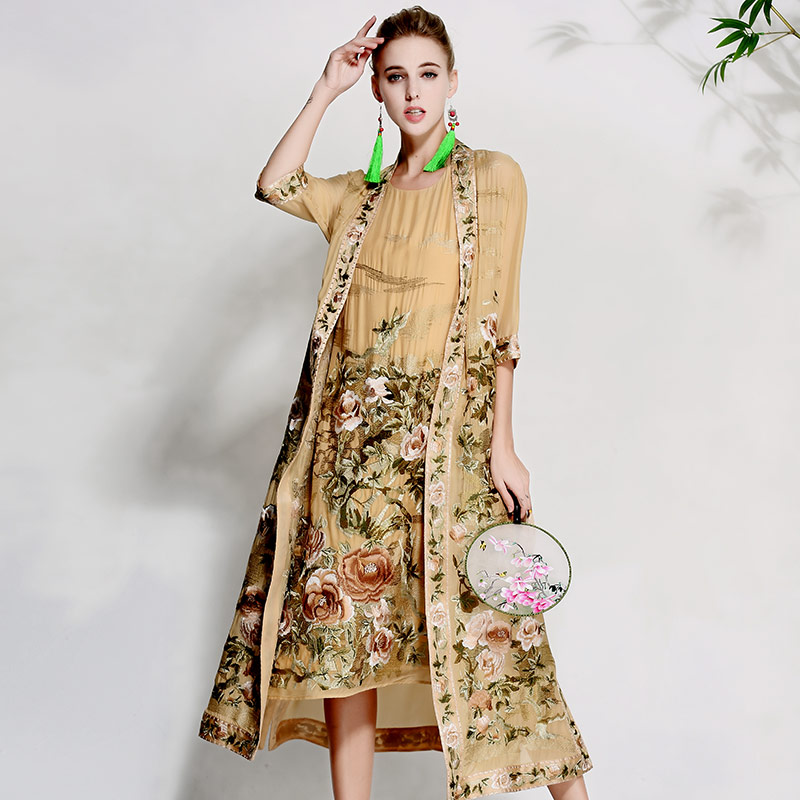 High end floral spring summer women trench coat dress ladies embroidery suit elegant loose lady silk Sunscreen coat set M XXXL
