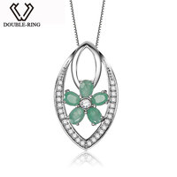 DOUBLE R Genuine Emerald Pendants Elegant 925 Silver Jewelry Green Pendants With Necklaces Women Flower Fine Jewelry CAP02413A