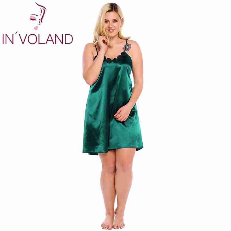 IN'VOLAND Plus Size Women Sleepwear Dress Sexy Lingerie Robe Spaghetti Strap Lace Satin Large Chemises Nightgown Vestidos XL-5XL