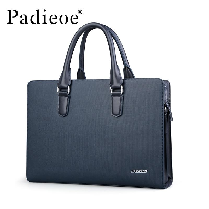 Padieoe Новое поступление Для мужчин Классические Разделение кожа Портфели Бизнес Высококачественная сумка торба для 14 дюймового ноутбука для мужчин NB161143 1 - 2