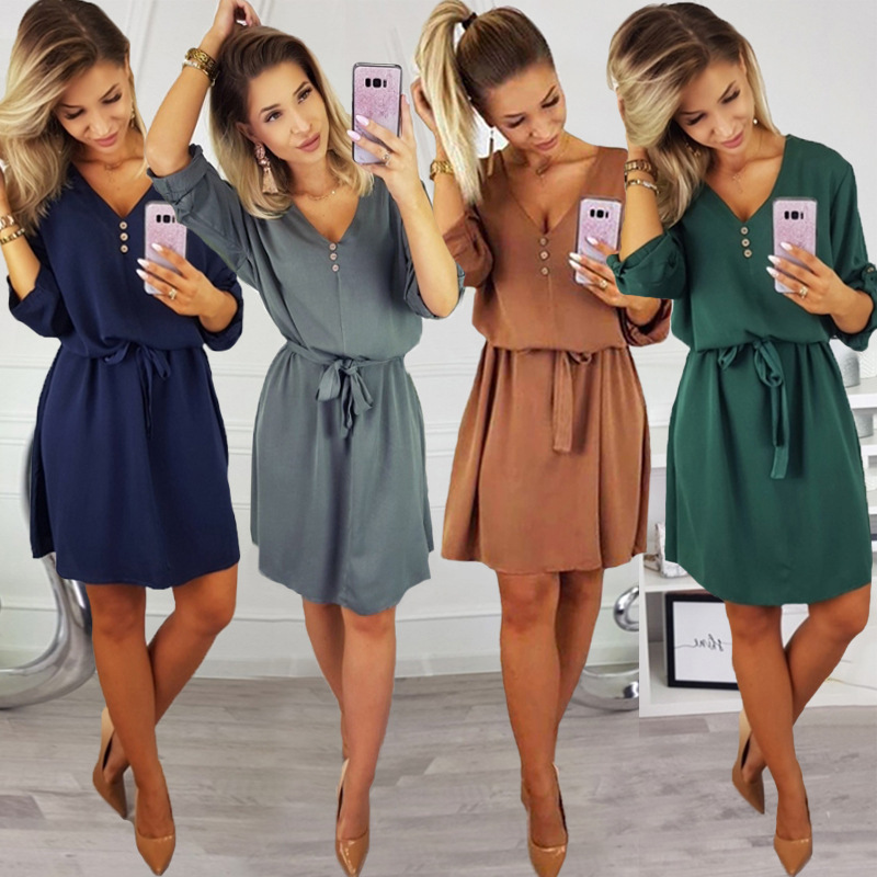 2019 Summer Women Dresses Female Sexy V Neck Half Sleeve Office Dress Green Bandage Dress Casual Dress Chiffon Mini Vestidos Sun