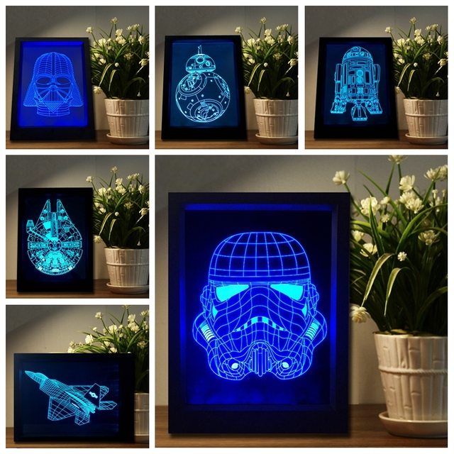 NEW Star War Darth Vader BB-8 R2D2 3D Lamp Wall Frame LED Novelty Night Light Colorful Mood Lighting Remote Touch AAA Battery RC