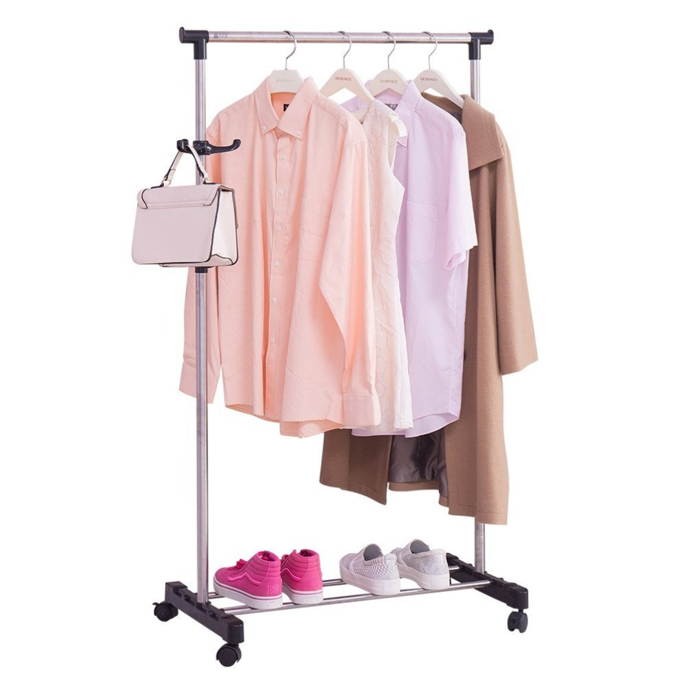 Single Rod Rolling Garment Rack Clothes Hanging Rail Stand