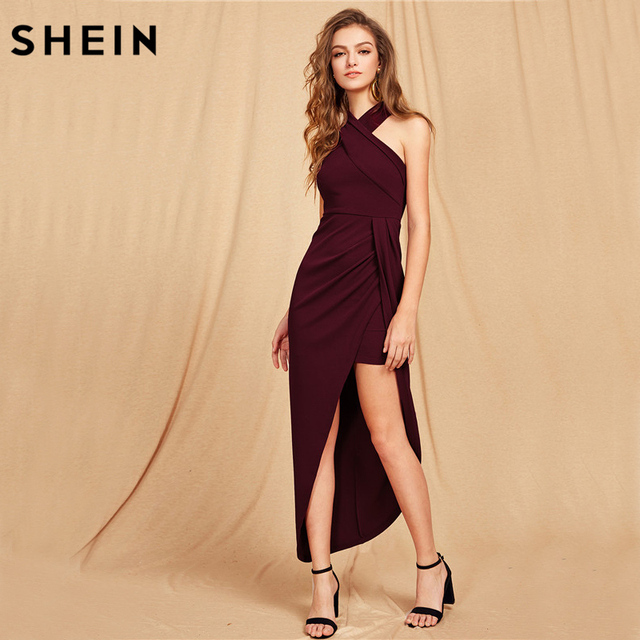 4b899791e70 SHEIN Halterneck Crisscross Front Maxi Dress Sexy Club Wear Party Dress  Women Sleeveless Asymmetrical Long Dress