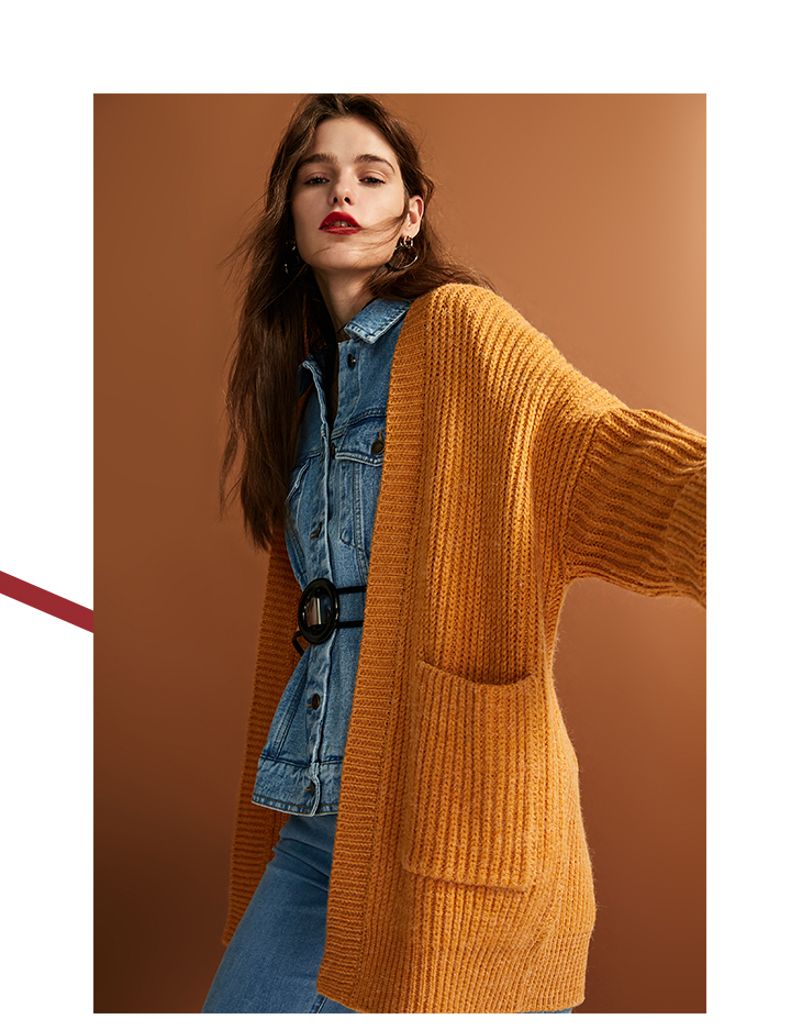ONLY womens' autumn new cardigan long sweater sweater women Cuff design Cardigan design|11833B504 12