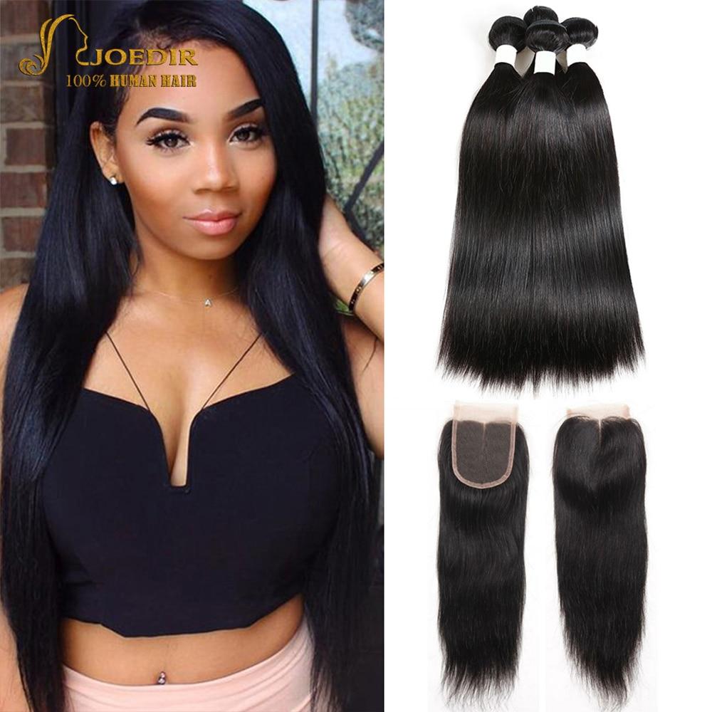 Joedir pelo pre-color paquetes de cabello humano con cierre - Cabello humano (negro)