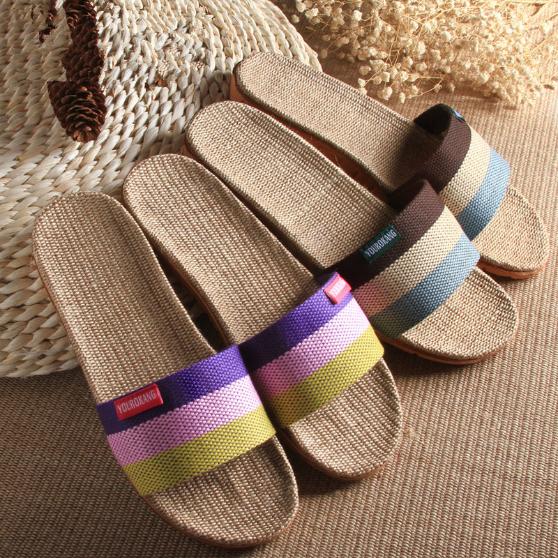 Flax slippers summer house wooden floor thick base anti-skid indoor cool slippers, comfortable anti-skid female slippers 2