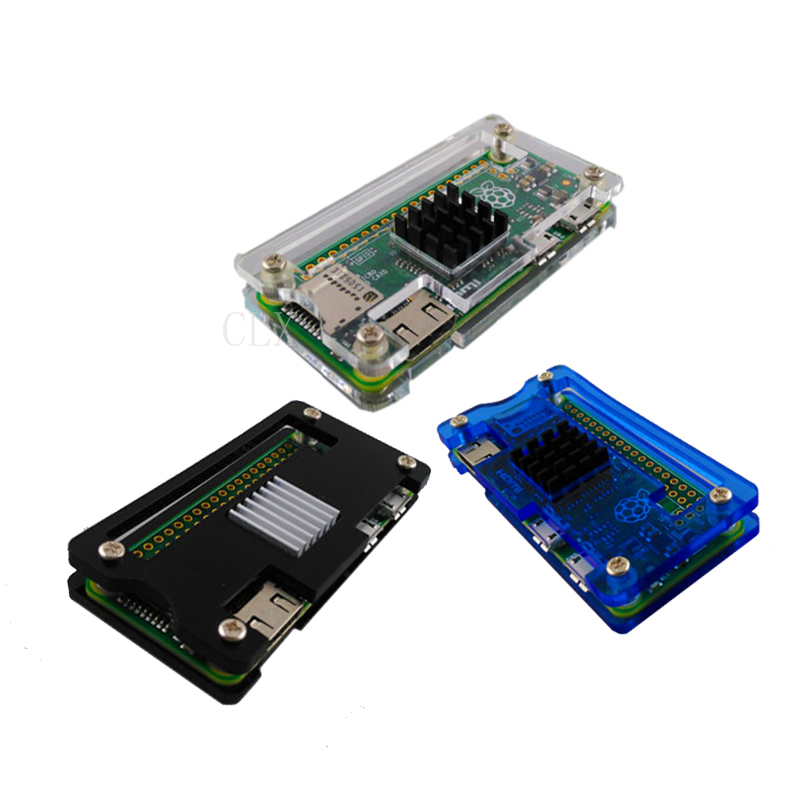 Raspberry Pi Zero W Acrylic Case + Aluminum Heat Sink for RPI Zero Box Cover Shell Enclosure Cases also for RPI Zero V1.3 raspberry pi 3 abs case transparent red blue clear box cover shell also for raspberry pi 2 rpi cpu cooling fan for rpi 3