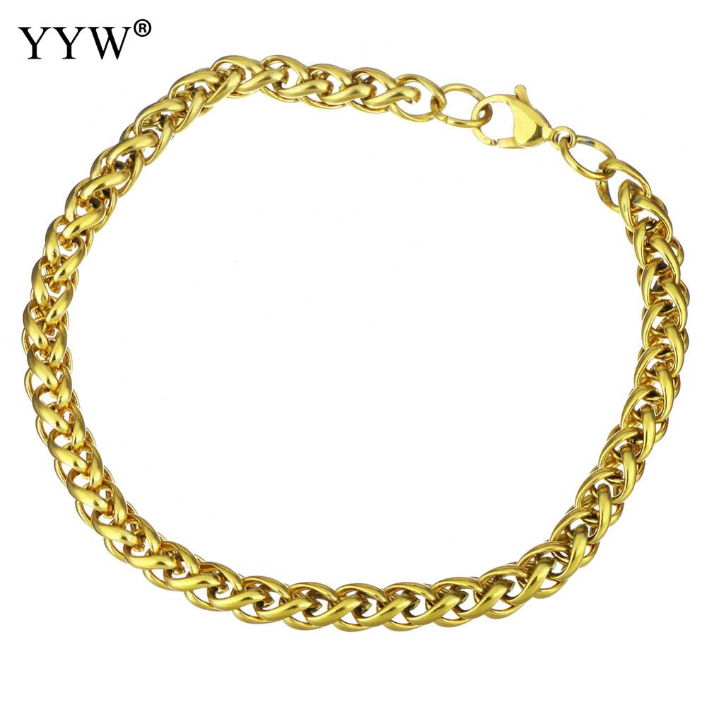 Stainless Steel Charm Bracelets Gold Colors Cut Hammered Flat Curb Mens  Boys Chain Friendship Bracelet Filled