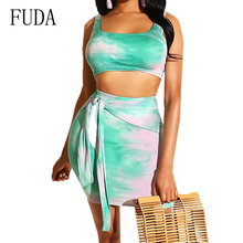 FUDA Plus Size XXL Sexy Summer Two Pieces Sets Vintage Print Mini Dress Hollow Out Sleeveless Party Vestidos Robe Femme Ete