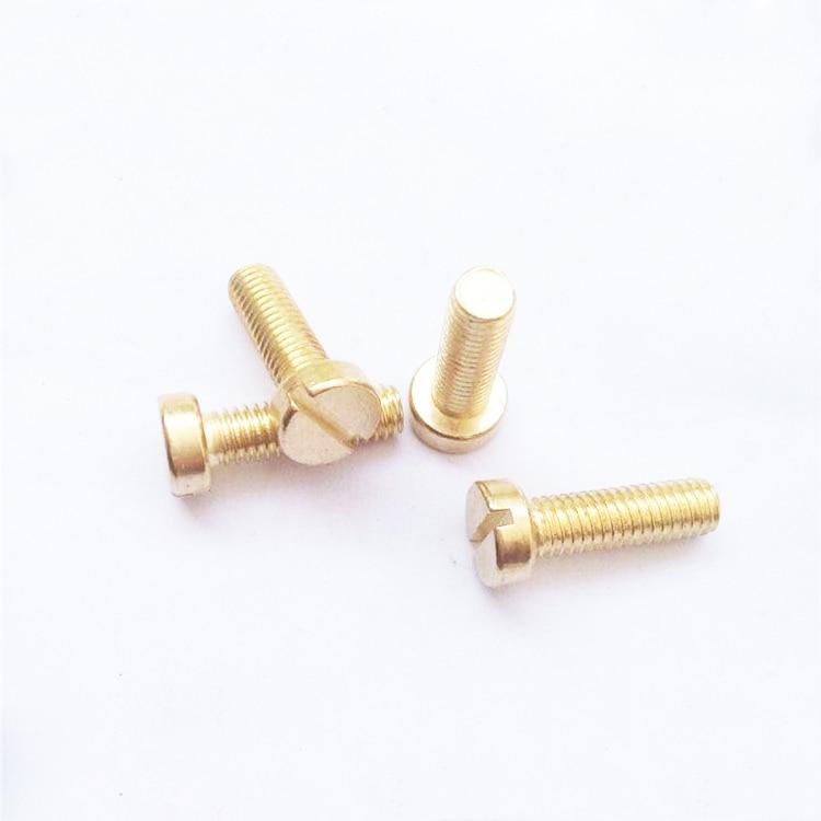 100Pcs//Lot M2 M2.5 M3*L DIN84 Brass Slotted Cheese Head Screw Brass Screw Brass