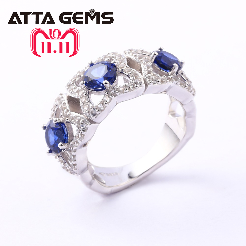 Blue Sapphire Sterling Silver Rings Unisex Design Men and Women Wedding Band 3 Carats Created Sapphire Fashion Style Ring цены