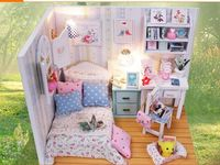 New Arrive Diy Puzzle miniatura 3D Wooden house miniature Furniture For Children Toys Birthday Gift