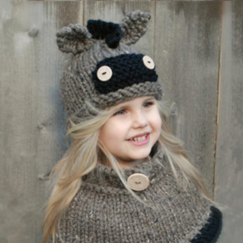 41541113dae 2017 Baby Winter Knitted Hats Kawaii Scarf Set Kids Boys Girls Warm Shapka  Caps for Children