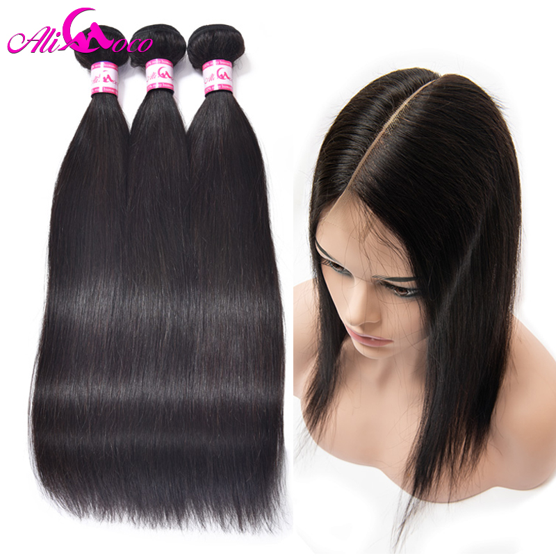 Ali Coco Brazilian Straight Human Hair Bundles With 2 6 Lace Closure Natural Color 8 28