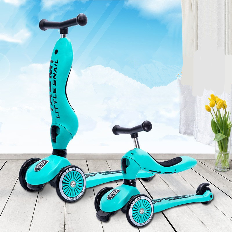 3 roues enfant mount multi-fonctionnel 2-en-1 Scooter poulie Yo-yo vélo tricycle poussette changement de forme ajuster hauteur 3-6 s enfant jouet