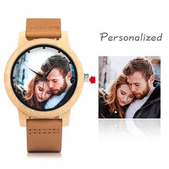 Personnalité créative amoureux montres UV impression Photos clients bambou montre personnalisation impression OEM grand cadeau pour amour OEM