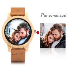 Yaratıcı kişilik severler saatler UV baskı fotoğrafları müşteriler bambu saat özel baskı OEM büyük aşk için hediye OEM