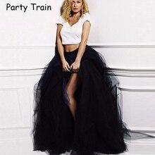 Floor Length Wedding Skirt Tulle Overskirt Sexy Pleated Fashion Handmade Woman Tutu Female Long Skirt Lolita Saia Longa