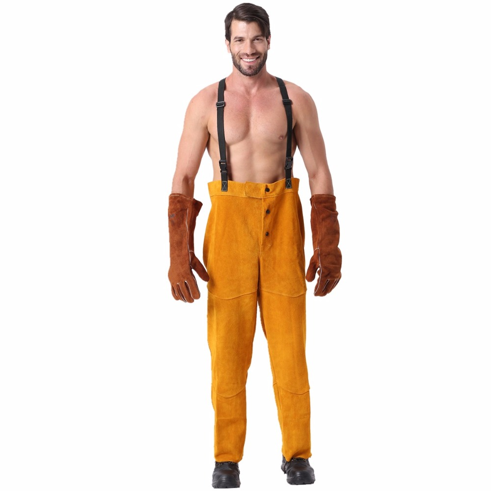 Welding Pants Chaps Trousers Flame/Heat/Abrasion Resistant Cowhide Leather Worker Britches Romper for Welding Protection