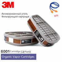 1/2/4/5 Pairs 3M 6001 Weld Paint Gas Mask Respirator Filter Organic Vapor Cartridges Assemble 3M 7502 6200 Industrial Dust Mask