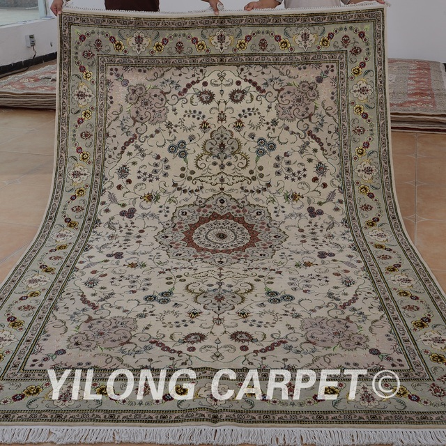 Yilong 6 X9 Oriental Hand Knotted Wool Pile Carpets Beige Exquisite Rugs Made