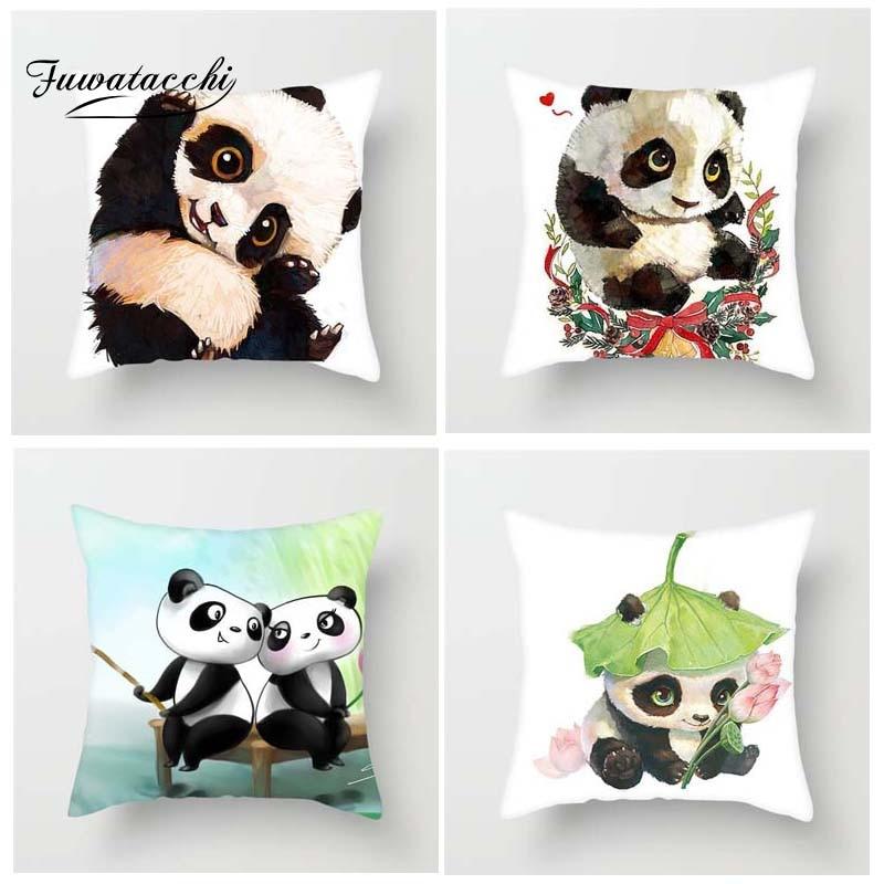 Fuwatacchi Cute Cartoon Panda Style Cushion Cover For Sofa Little Cute Panda Printed Pillow Cover Decorative Pillows Pillowcase