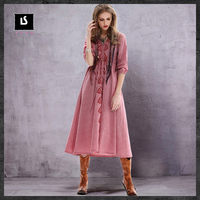 Vintage Women Clothing 2017 TaYingLou New Spring Loose Cotton Linen Long Dress Ethnic Style Embroidery Drawstring