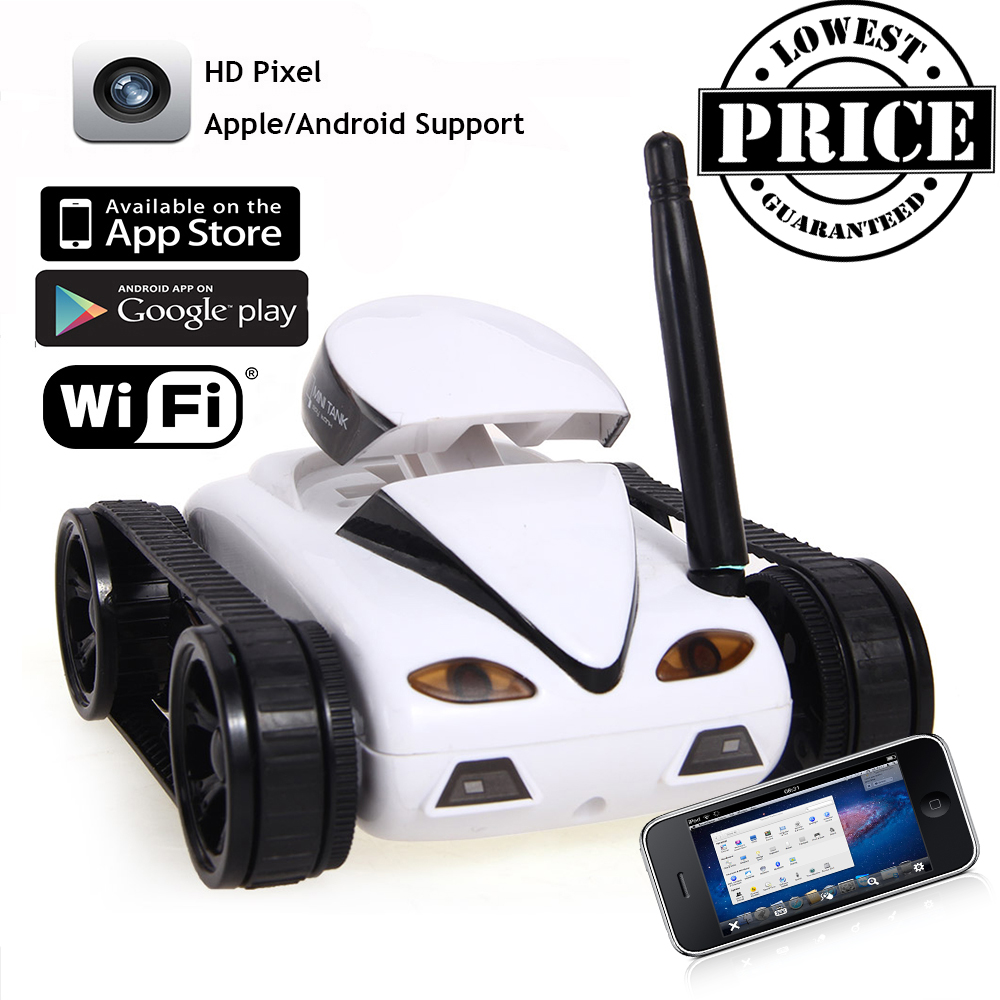 New 2017 mini rc i spy wifi tank car video 0 3mp camera 777 270 wifi remote control by iphone android robot with camera 4ch app