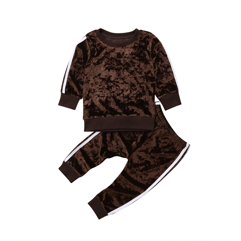 Toddler Kids Baby Girl Clothes Velvet Sweatshirt Long Sleeve Tops Pants Tracksuit Outfit Clothes Set 2019 in Clothing Sets from Mother Kids