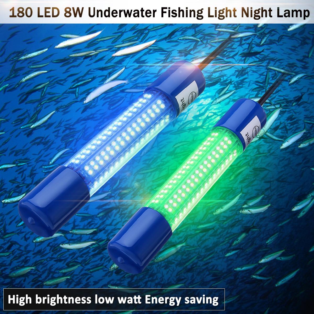 180 LED 8W Underwater Fishing Light Night Boat Squid Fish Prawn Waterproof 12 24v Clip On Dark Luminous Glow Fishing