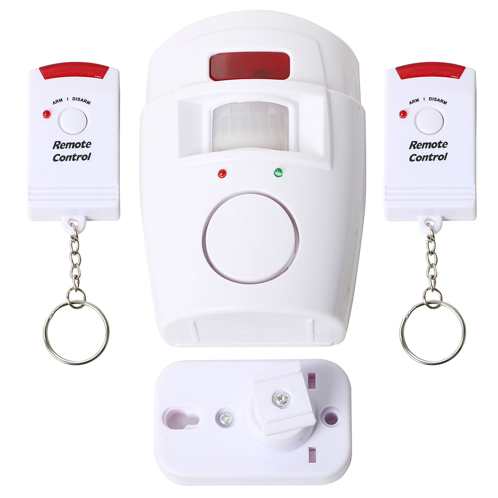 Home Security PIR Motion Sensor Alarm with 1 Adjustable Wall Mounting Bracket and 2 Remote Controls for Home Shed Garage Caravan