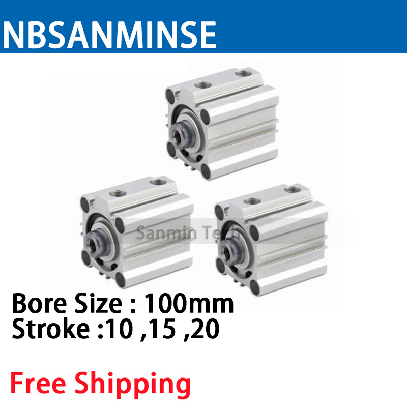 NBSANMINSE CQ2B 100mm Bore Compact Cylinder Double Acting Single Rod Pneumatic ISO air Cylinder 16mm x 100mm single rod pneumatic cylinder w clear 6mmx4mm pu tube