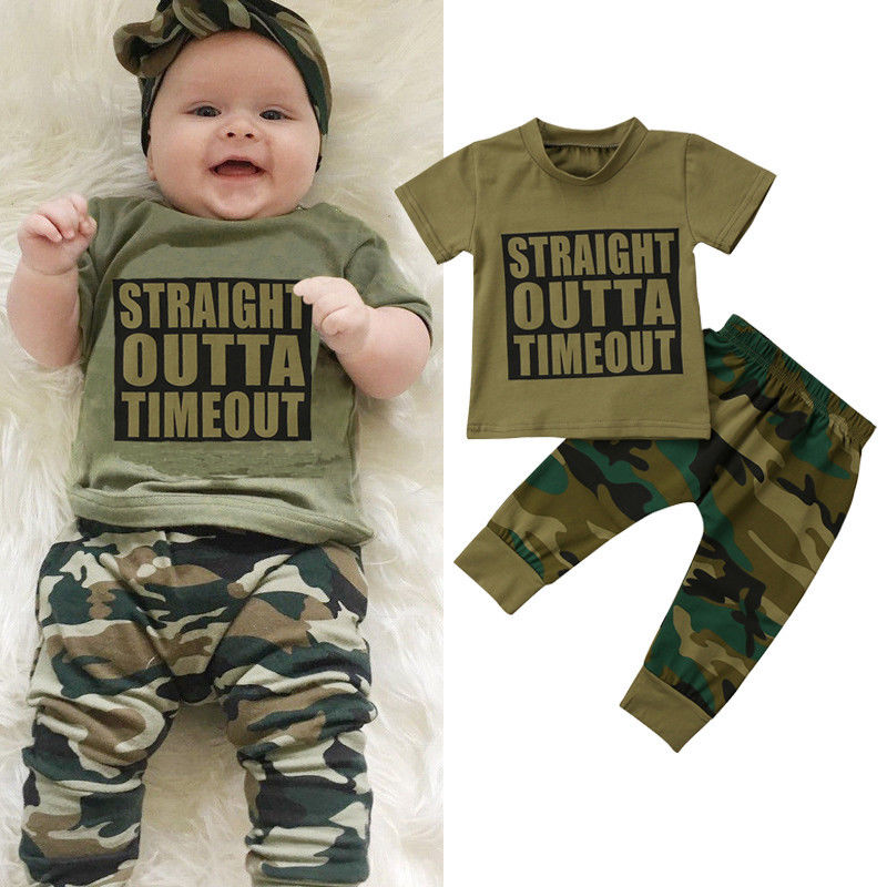 Summer Fashion Newborn Baby Boys Girls Tops T-shirt Camo Pants 2pcs Outfits Set 2018 New Clothes 0-24M