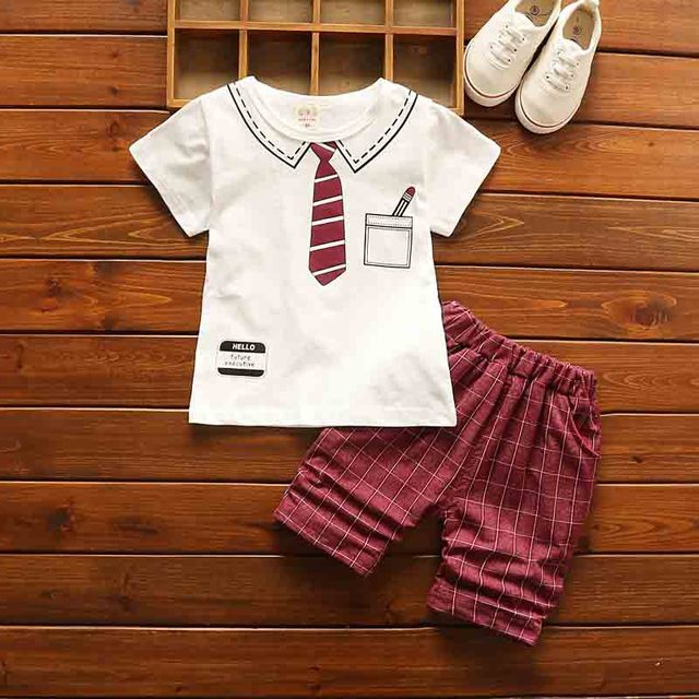 4df6df26b BibiCola 2018 casual baby boy clothes short sleeve t shirt + lattice ...