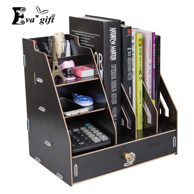 DIY Wooden Storage file Box with draweOffice tools Organizer Container Case Assembly Wood  holder book Desktop finishing Box