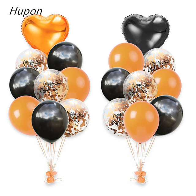 Confetti Balloon 18pcs Halloween Letter Balloons 18inch Heart Foil Baloons For Halloween Party Decorations Event Party Supplies