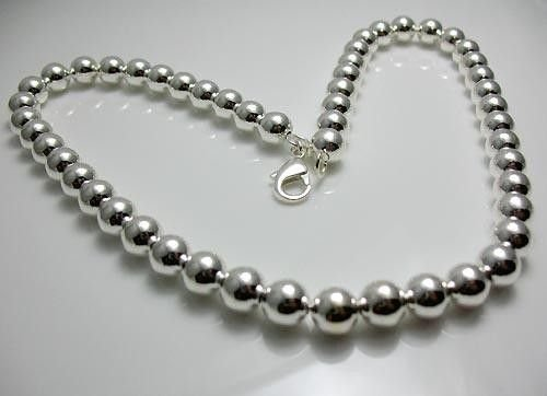 HOT 925 sterling silver 10MM hollow beads  necklace   N103