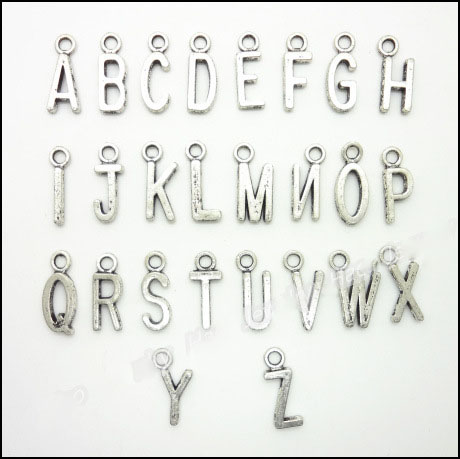 Set of 26 x Silver Plated A-Z ALPHABET LETTER 15mm Charms Pendants Beads