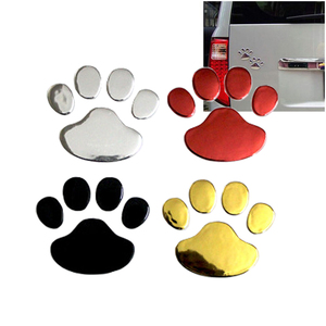 Image 3 - Car Sticker Cool Design Paw 3D Animal Dog Cat Bear Foot Prints Footprint 3M Decal Car Stickers Silver Gold Red Car Accessories