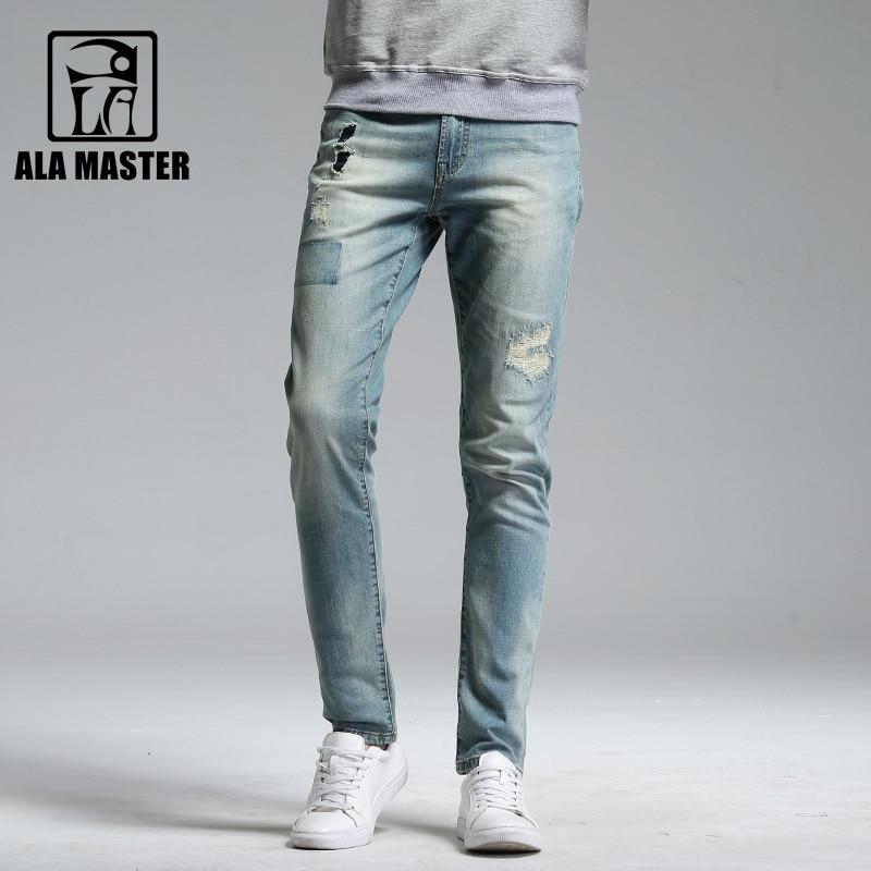 A LA MASTER Hot Jeans Men Slim Hole Wash White Cotton Denim Pants Men Autumn Distressed Moustache Effect Mens Pants 2018